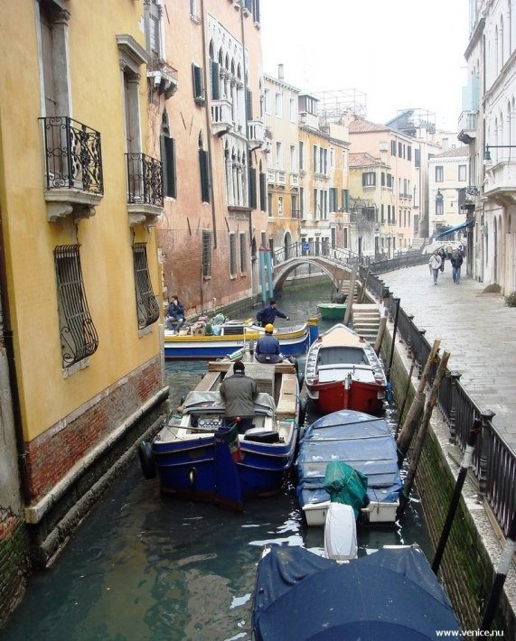 photo of builders' boat on Venice canal