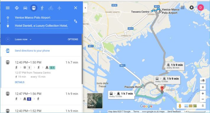 example of google directions map